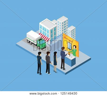 Buy new model 3d isometric design. Model tablet, new tablet, people buy technology, buying or shopping, screen new tablet, purchase retail market, buyer or consumer, smart touch tablet illustration