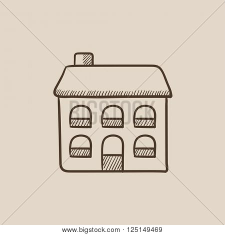 Two storey detached house sketch icon.
