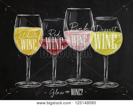 Poster wine types with four main types of wine lettering white wine red wine pink wine dessert wine drawing with chalk in vintage style on chalkboard.