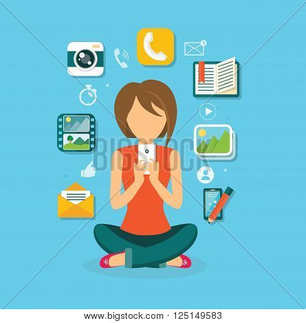 Woman user smartphone design flat. User woman, computer user icon, computer user, social media, web user, computer person user phone, web phone internet, social network communication illustration