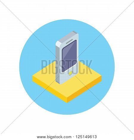 Smart phone design flat icon isolated. Smart and phone, telephone mobile and smart phone isolated, mobile phone, cell phone, touch screen phone, touchscreen electronic smartphone illustration