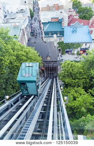 QUEBEC CITY/CANADA - JUNE 12 2010: The Old Quebec Funicular railway negotiates the steep hillside between the Upper Town and the Lower Town
