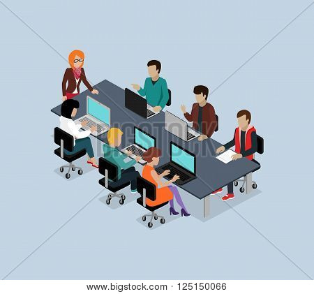Teamwork 3d isometric business team. Teamwork and teamwork concept, working together, collaboration and business teamwork, leadership and 3d team, work people, businessman illustration
