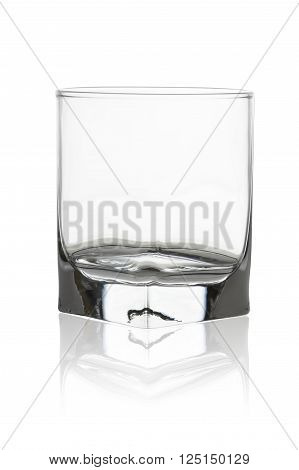 Empty whisky glass isolated on white background, clipping path