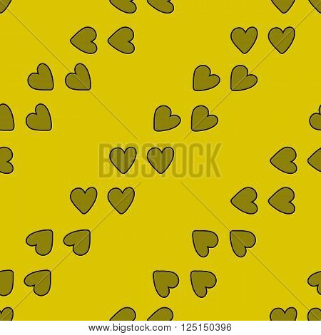 Seamless pattern with hearts on yellow background stock vector