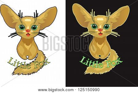 Vector illustration of cute Fox. Fun nice animal. Fenech character with text