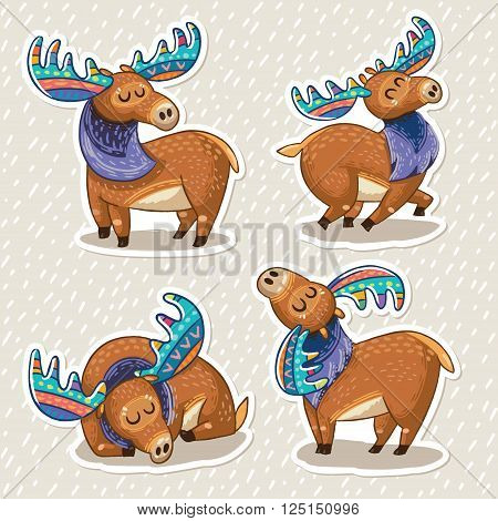 Collection of stickers with cute hand drawn mooses in cartoon style. Elks with rainbow antlers. Character design set sticker. Vector illustration