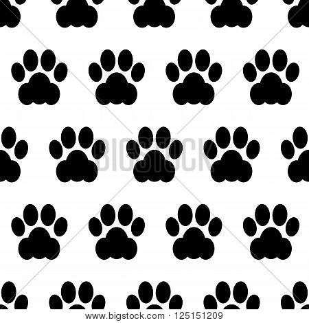 Black seamless of footstep cat paws. Vector illustration.