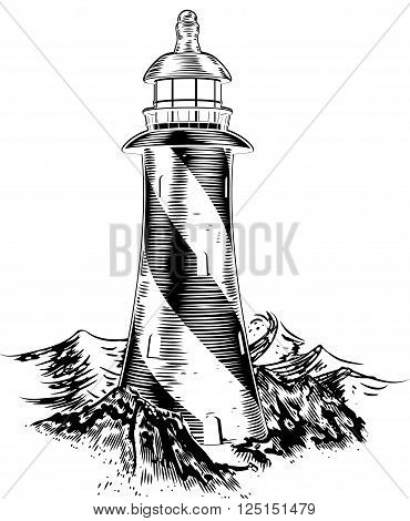 Woodblock Style Lighthouse