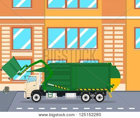 The machine picks up garbage from the yard lifting it with a fork mechanism. Cleaning equipment. Vector illustration