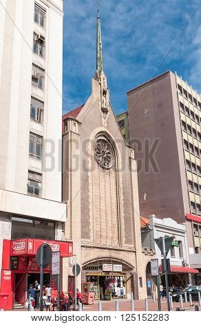 PORT ELIZABETH SOUTH AFRICA - FEBRUARY 27 2016: A street view in Port Elizabeth showing the original section of the Cathedral Church of St Mary the Virgin completed in 1832