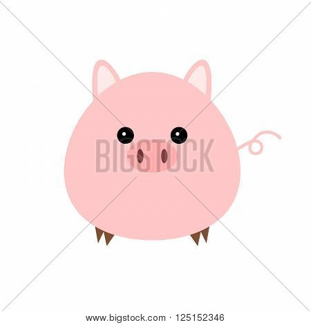 Pink pig - vector illustration. Small abstract pig on white background.