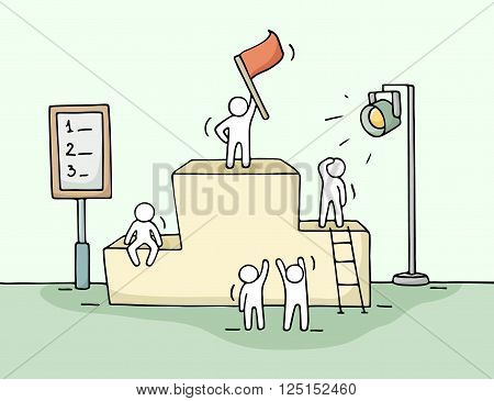 Sketch of working little people with pedestal teamwork. Doodle cute miniature scene of workers preparing for the ceremony. Hand drawn cartoon vector illustration for business design and infographic.