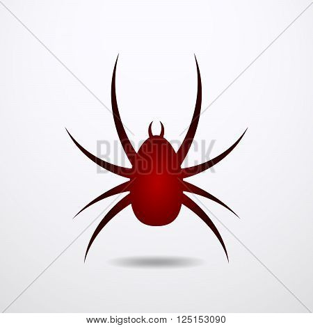 Spider icon - vector illustration on white background. Simple red sign of spider in flat design.