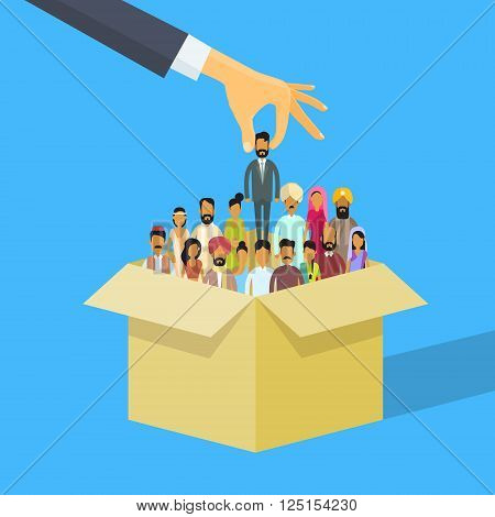 Indian Recruitment Hand Picking Business Person Candidate Box India People Crowd Man Woman Human Resources Flat Vector Illustration