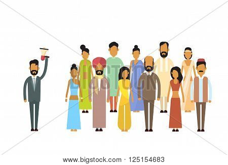 Indian Businessman Boss Hold Megaphone Loudspeaker India  Colleagues Business People Team Group Flat Vector Illustration