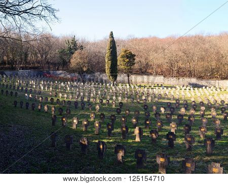 AURISINA, ITALY - JANUARY, 17: This war cemetery contains 1934 Austro-Hungarian war graves from the First World War on January 17, 2016