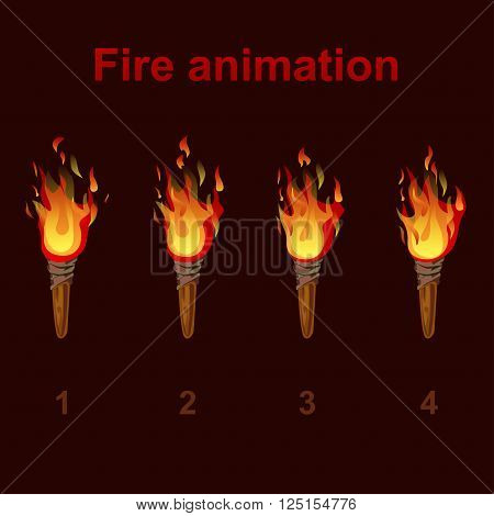 Torch fire animation sprites flame video frames for game design