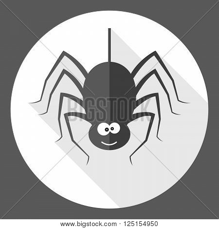 Spider icon - vector illustration with shadow. Simple black sign of spider in flat design.