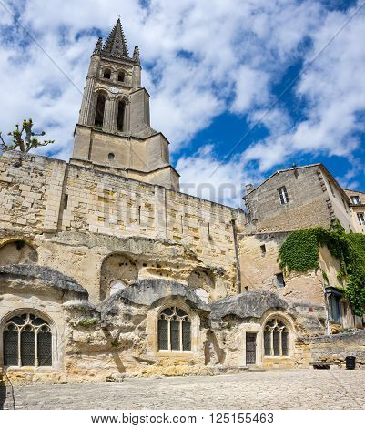 View on monolithic church in Saint-Emilion France