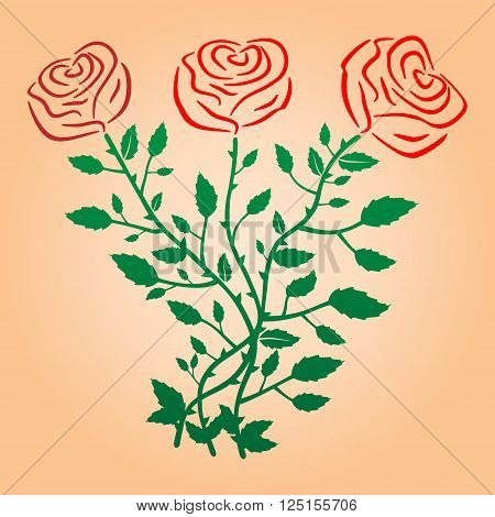 Roses in vector illustration. Three red roses with green leaves and stems.