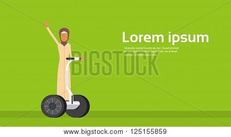 Arab Woman Ride Electrical Bicycle Segway Scooter Copy Space Flat Vector Illustration