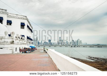 View of the Casco Viejo district with the Panama city skyline on the background Panama Central America