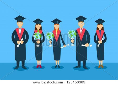 Student Group Graduation Gown Hold Globe Paper Diploma Sertificate Flat Vector Illustration