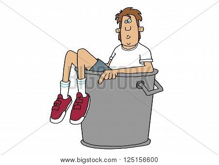 Illustration depicting a teenage boy with his head, arms and legs sticking out of a metal garbage can.