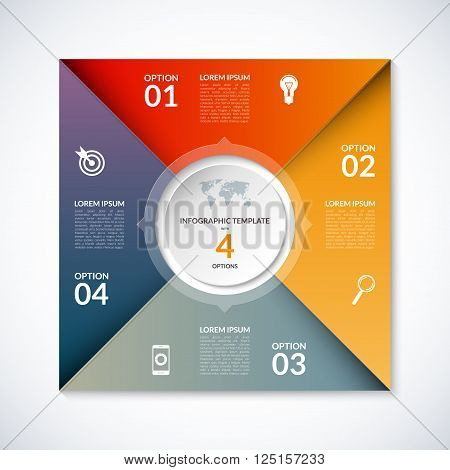 Vector infographic square template. Banner with 4 steps, stages, options, parts. Can be used for diagram, graph, pie chart, brochure, report, business presentation, web design.