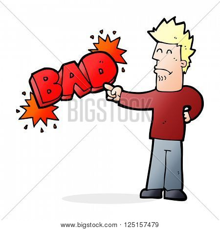 cartoon man pointing out the bad
