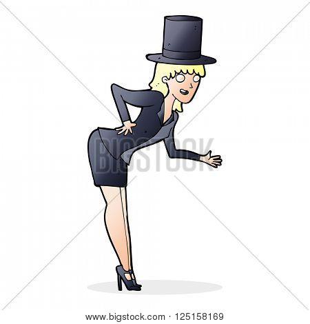 cartoon magician woman