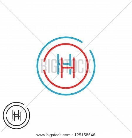 Letter H Logo Monogram, Initials Hh Intersection Line Wedding Invitation Emblem, Red And Blue Circle