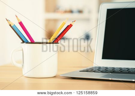Desktop With Iron Mug