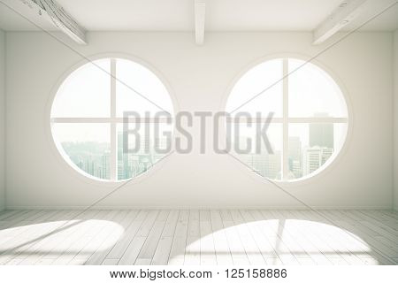 Sunlit interior design with wooden floor and round windows revealing city view. 3D Rendering
