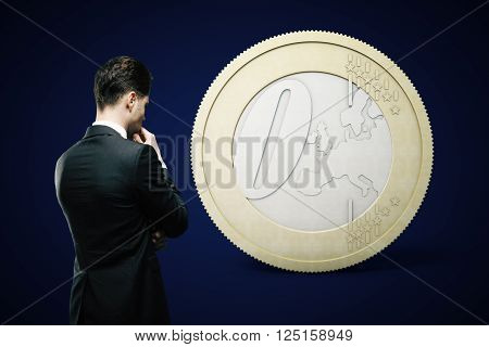 Financial concept with thinking businessman looking at zero euro coin on dark blue background. 3D Rendering