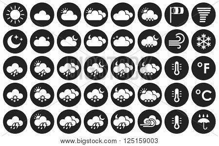 Set of weather icons. Black and white vector illustration for your design solution. Eps 10. Clear sky. Cloudy weather. Increased cloudiness. Sunshine. Sunlight. Tornado. Blizzard