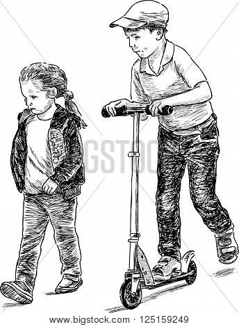 Vector drawing of the siblings on a stroll.