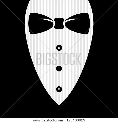 Bow Tie With Shirt, Buttons And Man Black Suit Illustration.