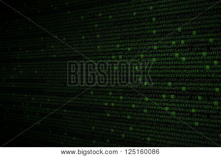 The green alphanumeric code background. This picture suitable for business and technology use.