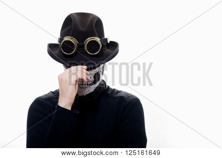 Portrait of a steampunk man in the hat and mask skeleton on white background.