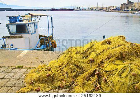 fishing nets at Kalamata port Peloponnese Greece