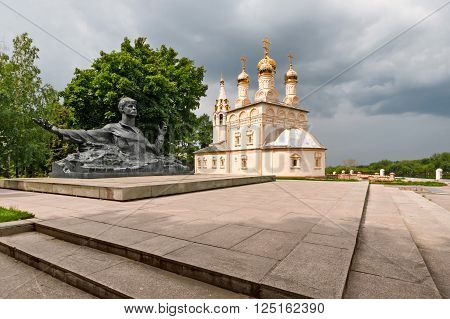 The Church and the monument to the poet Sergei Esenin, near the Ryazan Kremlin