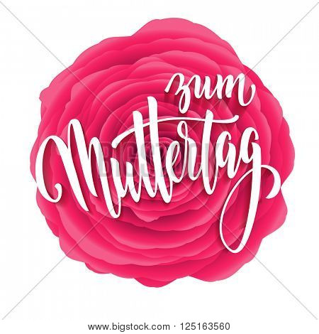 Muttertag Liebe vector greeting card. Pink red rose flower background. Mother Day hand drawn calligraphy lettering German title.