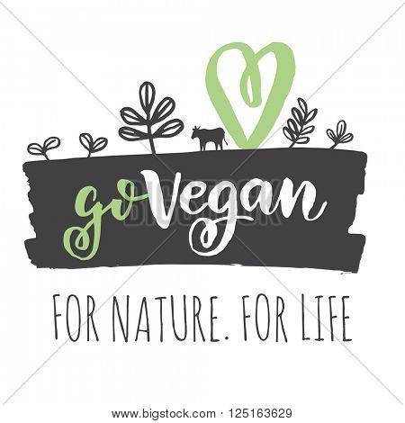 Go Vegan concept. Fresh healthy organic vegan food vector hand drawn illustration. Vegetarian eco green concept