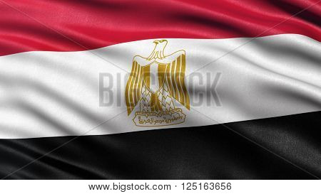 Flag of Egypt waving in the wind. Highly detailed fabric texture. 3D illustration.