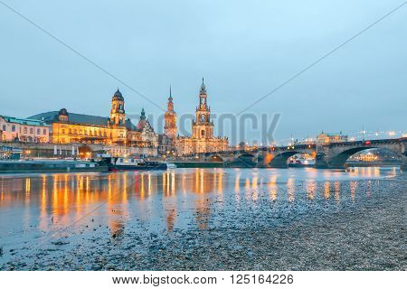 Holy Trinity Cathedral and bell tower of the Hofkirche in Dresden, Germany. ** Note: Soft Focus at 100%, best at smaller sizes