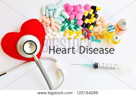 Heart, drugs and stethoscope, heart healthy concept
