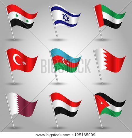 vector set of nine flags - waving simple triangle syrian bahraini azerbaijani jordanian qatari yemeni israeli turkish and emirati flag on slanted silver pole - icon of states of western asia