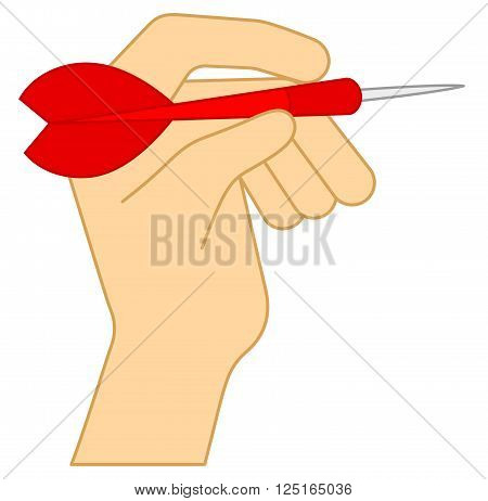 Darts. Human Hand Throwing a Dart Arrow